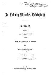 Zu Ludwig Uhland's gedächtniss