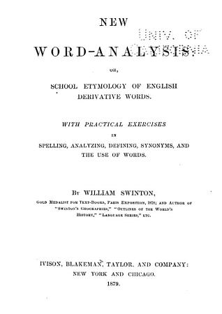 New Word analysis  Or  School Etymology of English Derivative Words PDF