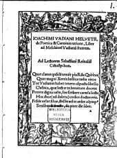 De poetica et Carminis ratione liber ad M. Vad. fratrem