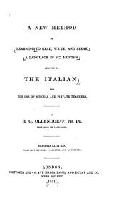 New Method of Learning a Language in Six Months, Adapted to the Italian