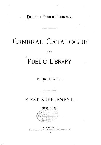 Download General Catalogue of the Public Library of Detroit  Mich Book
