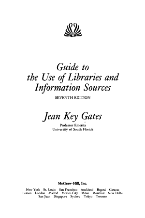 Guide to the Use of Libraries and Information Sources PDF