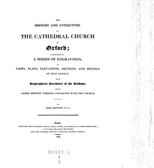 The History and Antiquities of the Cathedral Church of Oxford PDF