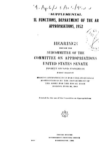 Supplemental Civil Functions  Department of the Army Appropriations  1952  Hearings Before     82 1 PDF
