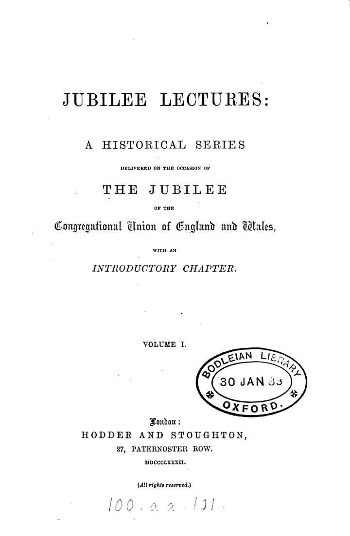 Jubilee lectures: a historical series
