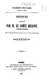 Chambre des pairs. Discours prononcé par M. le comte Beugnot,... dans la discussion générale du projet de loi sur la liberté d'enseignement: séance du 24 avril 1844