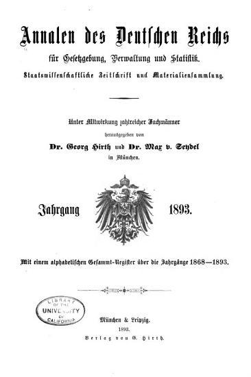 Annalen des Deutschen Reichs f  r Gesetzgebung  Verwaltung und Volkswirtschaft PDF