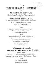 A Comprehensive Grammar of the Sanskrit Language: Prosody