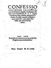 Confessio doctrinae Saxonicarum ecclesiarum synodo Tridentinae oblata anno 1551