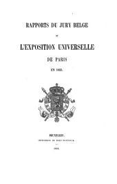 Rapports du jury Belge de l'exposition universelle de Paris en 1855