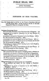 THE SESSIONAL PAPERS PRINTED BY ORDER OF THE HOUSE OF LORDS, OR PRESENTED BY ROYAL COMMAND, IN THE SESSION 1887