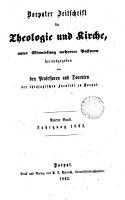 Dorpater Zeitschrift f  r Theologie und Kirche PDF