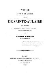 Notice sur M. le Comte Louis de Sainte-Aulaire