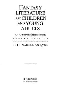 Fantasy Literature for Children and Young Adults PDF