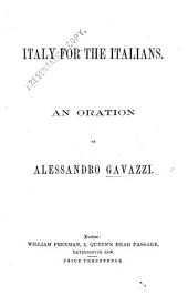 Italy for the Italians. An oration