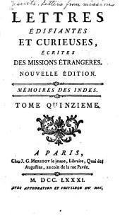 Lettres edifiantes et curieuses: ecrites des missions etrangéres, Volume15