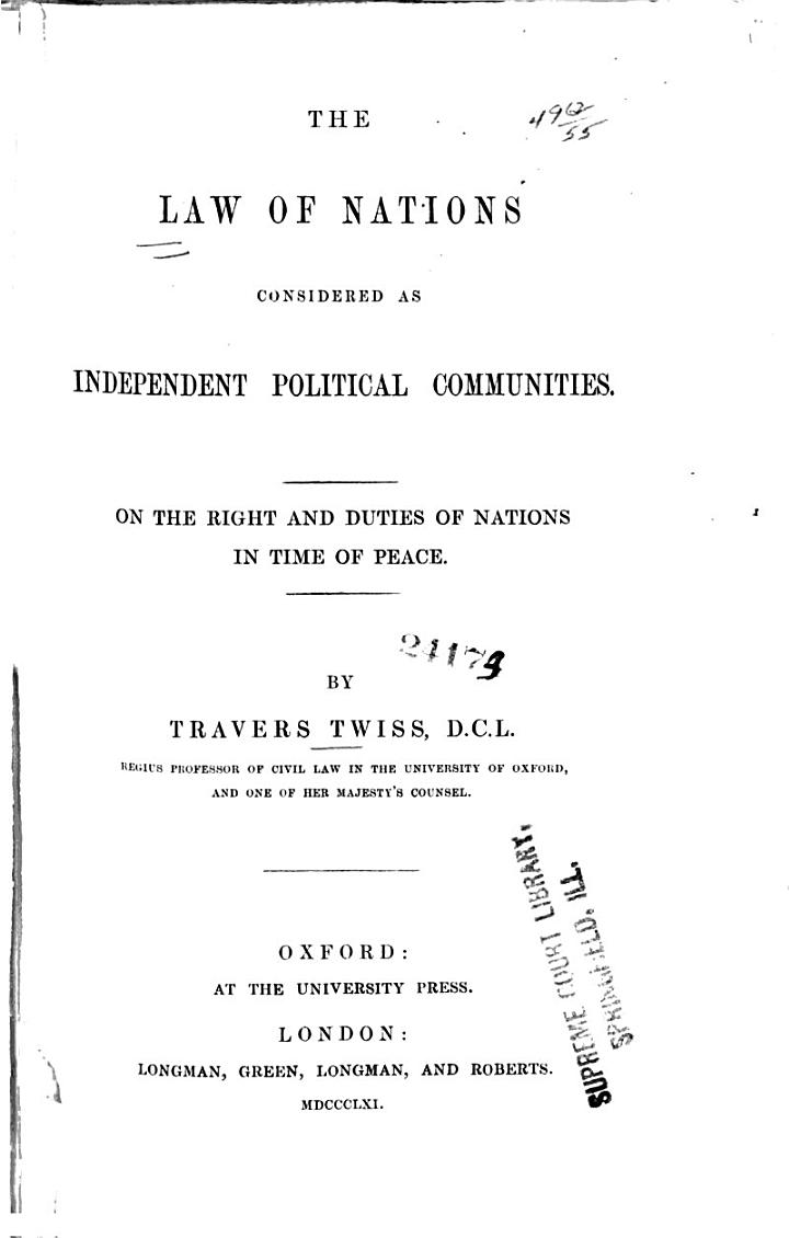 On the rights and duties of nations in time of peace