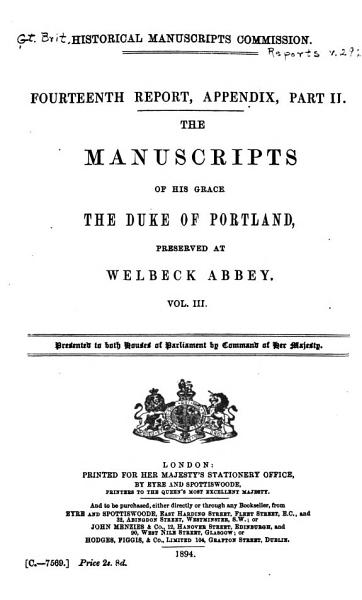 Download The Manuscripts of His Grace the Duke of Portland  Preserved at Welbeck Abbey Book