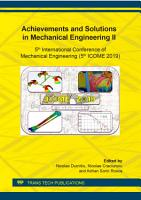Achievements and Solutions in Mechanical Engineering II PDF