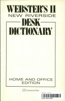 Webster's II New Riverside Desk Dictionary