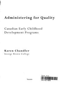 Administering for Quality