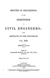 Minutes of Proceedings of the Institution of Civil Engineers: Volume 13