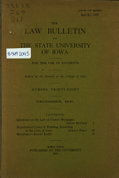 The Law Bulletin of the State University of Iowa: For the Use of Students, Issue 38