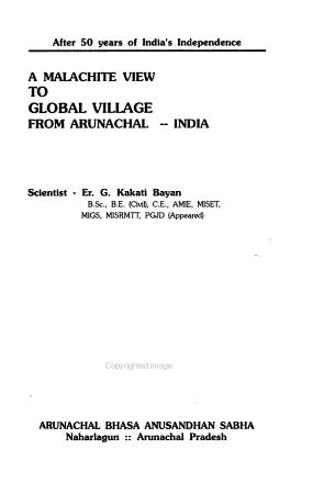 A Malachite to Global Village from Arunachal  India PDF