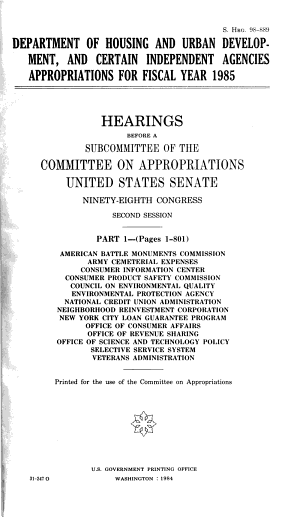 Department Of Housing And Urban Development And Certain Independent Agencies Appropriations