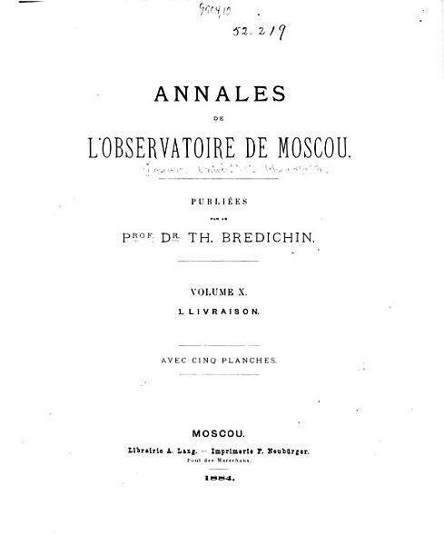 Download Annales de L Observatoire Astronomique de Moscou Book