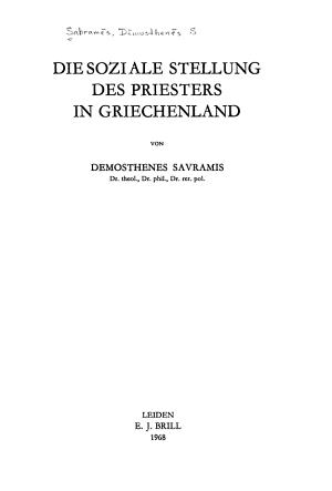Die soziale Stellung des Priesters in Griechenland PDF