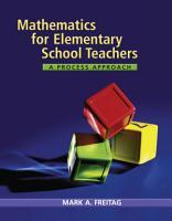 Mathematics for Elementary School Teachers  A Process Approach PDF
