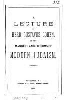 A lecture     on the manners and customs of modern Judaism PDF