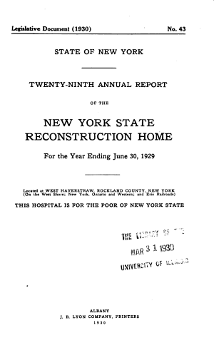 Annual Report of the New York State Hospital for the Care of Crippled and Deformed Children