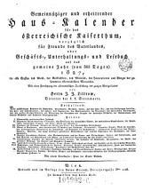 Gemeinnütziger und erheiternder Haus-Calender für das österr. Kaiserthum (etc.) (Red.)von Joseph Ritter von Seyfried: Band 7