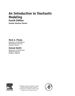 An Introduction to Stochastic Modeling  Student Solutions Manual  e only  PDF