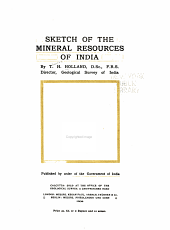 Sketch of the mineral resources of India
