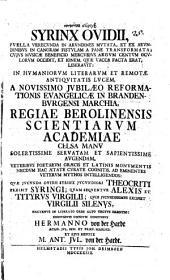 Syrinx Ovidii, puella verecunda in arundines mutata, et ex arundinibus in canoram fistulam a Pane transformata ...
