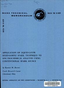 Application of Liquid layer Solid sample Spark Technique to Spectrochemical Spark Source PDF