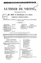 Le luthier de Vienne opera-comique en un acte par MM. de Saint-Georges et de Leuven