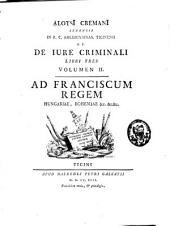 De jure criminali libri tres: Volume 2
