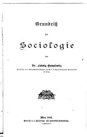 Grundriss der Sociologie PDF