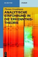 Analytische Einf  hrung in die Erkenntnistheorie PDF