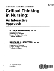 Instructor s Manual to Accompany Critical Thinking in Nursing PDF