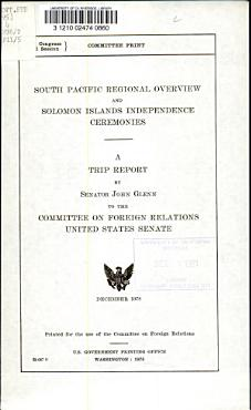 South Pacific Regional Overview and Solomons Islands Independence Ceremonies PDF