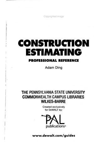 Construction Estimating PDF
