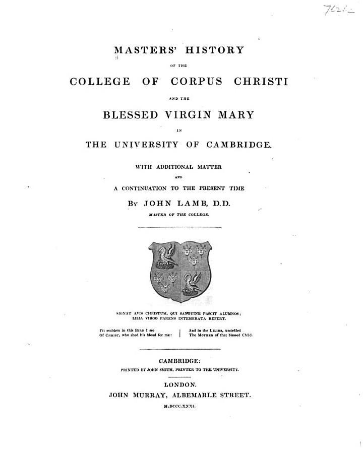 Masters' History of the College of Corpus Christi and the Blessed Virgin Mary in the University of Cambridge