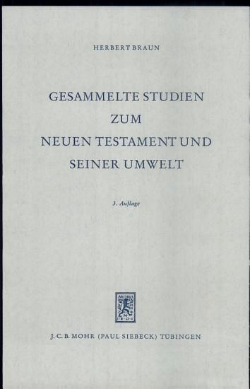 Gesammelte Studien zum Neuen Testament und seiner Umwelt PDF