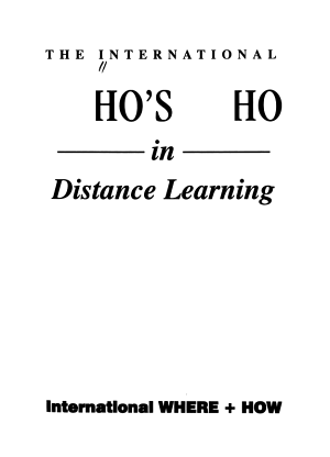 The International Who s who in Distance Learning PDF