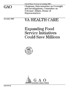 VA health care expanding food service initiatives could save millions   Chairman  Subcommittee on Oversight and Investigations  Committee on Veterans  Affairs  House of Representatives  Book